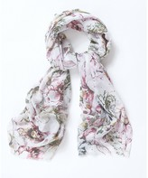 Apricot White Pink & Green Flower Print Scarf