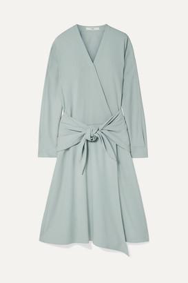 Tibi Tie-front Wrap-effect Crepe Midi Dress - Mint
