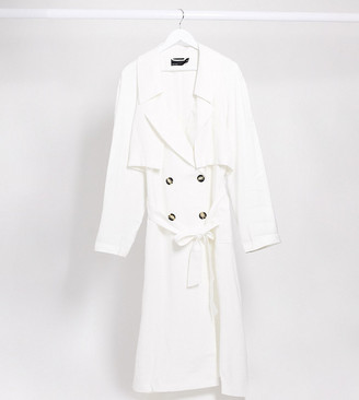 ASOS DESIGN Curve slouchy trench coat in white