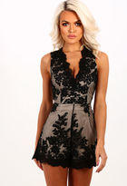 Pink Boutique Love All Night Black Lace Embroidered Playsuit