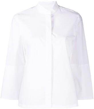 Odeeh Band-Collar Three-Quarter Sleeve Shirt