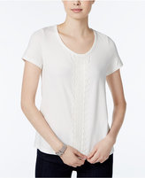 Tommy Hilfiger Short-Sleeve Embroidered Top, Only at Macy's