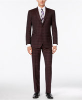 English Laundry Men's Red Plaid Slim-Fit Suit