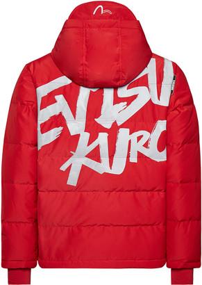 Evisu Graffiti Print Puffer Jacket With Logo Embroidery Stripe