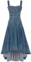 Thumbnail for your product : Alexander McQueen Corset Denim Midi Dress