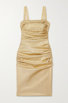 Dolce & Gabbana Ruched Silk-blend Lame Dress - Gold