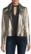 Veronica Beard Mica Metallic Leather Biker Jacket