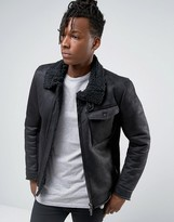 Sisley Faux Shearling Jacket With Asymmetrical Zip