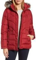Larry Levine Quilted Coat with Faux Fur Trim