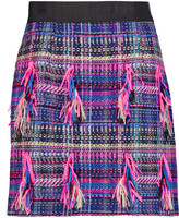 Milly Fringed bouclé-tweed mini skirt