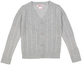 Pink Angel Heather Gray Cable-Knit V-Neck Cardigan - Infant Toddler & Girls