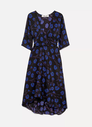 Diane von Furstenberg Eloise Asymmetric Printed Silk Crepe De Chine Wrap Dress - Black