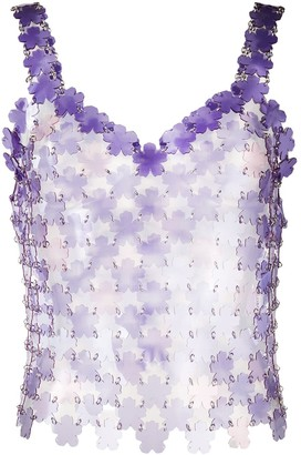Paco Rabanne Flower-Pailette Chainmail Top