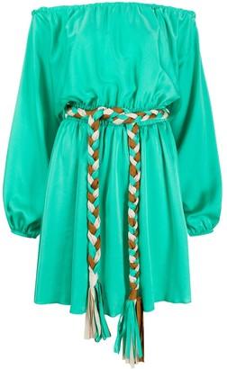 Giada Benincasa Off-The-Shoulder Tie-Waist Mini Dress