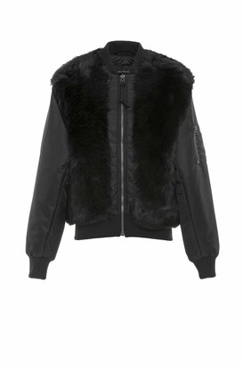 Mr & Mrs Italy Nick Wooster Unisex Black Nylon Bomber With Shearling