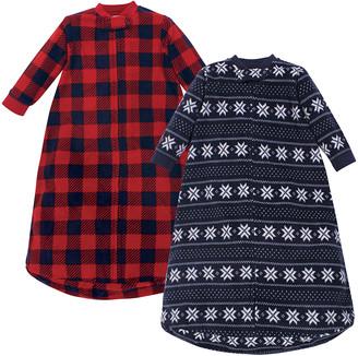 Hudson Baby Boys' Infant Sleeping Sacks Sweater/Plaid - Red & Navy Buffalo Check & Fair Isle Wearable Blanket Set - Newborn
