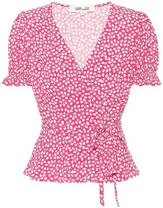 Diane von Furstenberg Emilia floral crepe wrap top