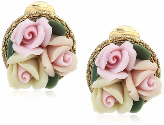 1928 Jewelry Women's Gold Tone 3 Flower Pink & White Porcelain Flower Round Button Clip Earrings