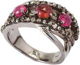 Bavna Rhodium-Tone Diamond-Accented Crossover Ring