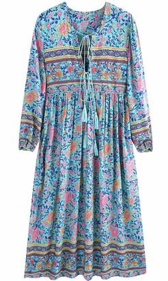 UIMLK Boho Maxi Dresses for Women Casual Summer Cotton Long Sleeve Floral Print Tassel Bohemian Midi Dresses with Pockets - - Small