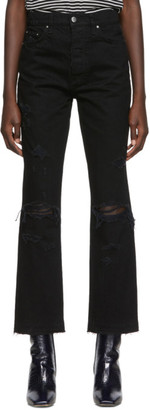 Amiri Black Cropped Straight Thrasher Minimal Jeans