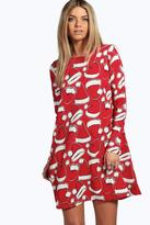 Boohoo Mia Santa Hat Printed Swing Christmas Dress