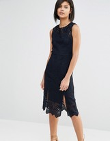 Whistles Clementine Peplum Dress in Lace