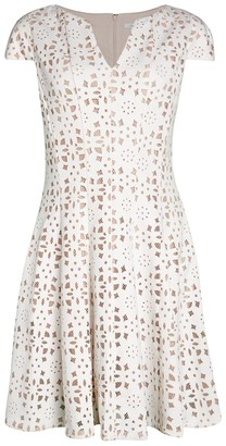 Julia Jordan Cap-Sleeve Eyelet Fit-&-Flare Dress