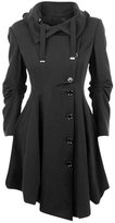 Seacolor Womens Button Asymmertrical Winter Long Trench Jackets Coat
