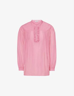 Reiss Ashlyn ruffled cotton-silk blend top