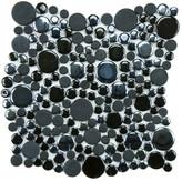 """EliteTile Posh Bubble 11.25"""" x 12"""" Porcelain Mosaic Tile in Black"""