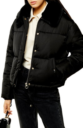Topshop Milo Faux Fur Collar Puffer Jacket