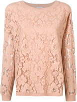 Twin-Set floral lace detail sweatshirt - women - Polyester/Spandex/Elastane/Viscose - XS