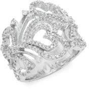 Effy Diamond & 14K White Gold Open Heart Ring