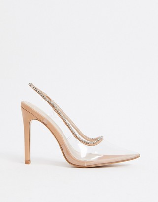 Public Desire Aurora embellished heeled shoes in clear
