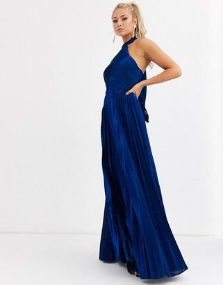 Forever Unique pleated high neck maxi dress in metallic cobalt