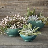 Williams-Sonoma Williams Sonoma Wide Blue Ceramic Planter Set