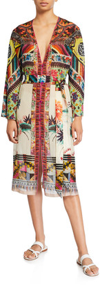 Etro Patchwork Print Long-Sleeve Dress