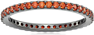 Amazon Collection Black-Plated Sterling Silver Swarovski Zirconia Orange Round Cut Eternity Band Ring Size 8