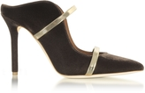 Malone Souliers Maureen Taupe Velvet and Platinum Mirror Nappa High Heel Mule