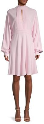 Giambattista Valli Keyhole Long-Sleeve Silk Dress