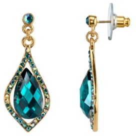 2028 Gold-Tone Emerald Green with Jet Ab Caged Briolette Drop Earrings