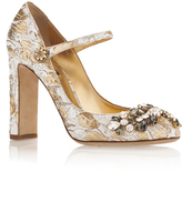 Dolce & Gabbana Silk Cotton Metallic Mary Jane Pumps with Crystal Embellishment