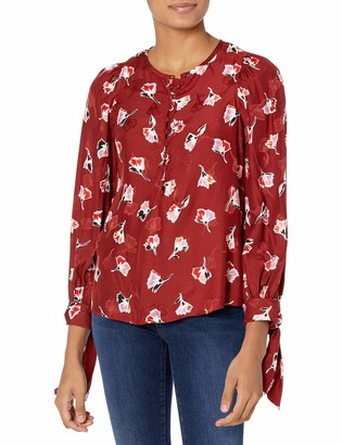 Rebecca Taylor Women's Long Sleeve Floral Silk Blouse