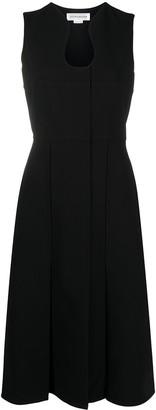Victoria Beckham Sculpted Neckline Pleated Midi Dress