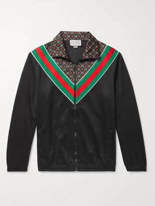 Gucci Webbing-Trimmed Logo-Print Tech-Jersey Track Jacket - Men - Black