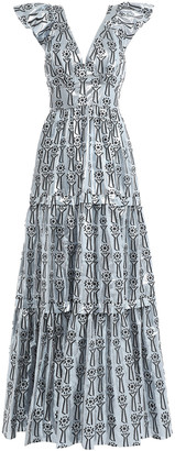 Temperley London Belted Tiered Fil Coupe Lame Gown
