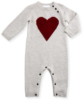 Burberry Missy Cashmere Heart Coverall, Light Gray Melange, Size 3-18 Months