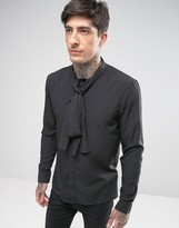 Religion Tie Neck Slim Shirt