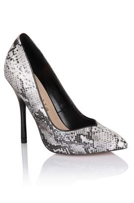 Little Mistress Footwear Paper Dolls Grey Snakeskin Pointed Court Shoe
